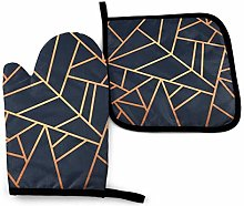 Oven Mitt and Potholder, Copper And Midnight Navy