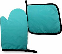 Oven Mitt and Potholder, Dark Teal Ombre Oven