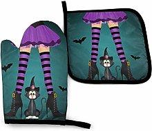 Oven Mitt and Potholder Halloween Black Cat Gloves