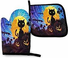 Oven Mitt and Potholder Halloween Black Cat