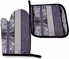 Oven Mitt and Potholder, Large Marbled Stripes in