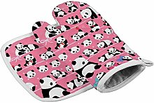 Oven Mitt and Potholder,Pink Panda Heat Resistant