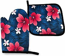 Oven Mitt and Potholder Red Hibiscus Flowers Blue