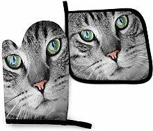 Oven Mitt and Potholder Set Anger Brown Cat Oven