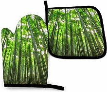 Oven Mitt and Potholder Set Green Bamboo Forest