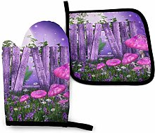 Oven Mitt and Potholder Set Purple Meadow Moon