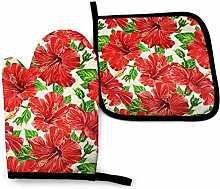Oven Mitt and Potholder Set Red Hibiscus Flowers