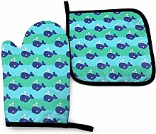 Oven Mitt and Potholder,Whales Sea Waves Seaside