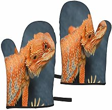 Oven Mitts 1 Pair Red Orange Breaded Dragon