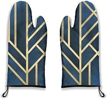 Oven Mitts 2pcs,Geometric Abstract Gold Stripes