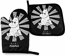 Oven Mitts and Hot Pad,Moomin Retro Japanese Oven