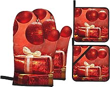 Oven Mitts and Hot Pad,Red Presents Potholders and
