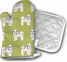 Oven Mitts and Hot Pad,Shih Tzu Cute Dog Funny