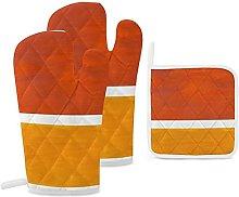 Oven Mitts and Pot Holders 3pcs Set,Burnt orange