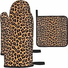 Oven Mitts and Pot Holders 3pcs Set,Leopard Print