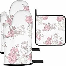 Oven Mitts And Pot Holders 3Pcs Set,Pink And White