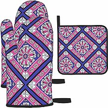 Oven Mitts and Pot Holders 3pcs Set,Purple & Pink