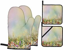 Oven Mitts and Pot holders 4pcs Set,Abstract Oil