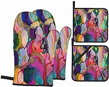 Oven Mitts and Pot holders 4pcs Set,Alcohol Ink