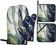 Oven Mitts and Pot holders 4pcs Set,Art Painting