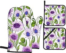 Oven Mitts and Pot holders 4pcs Set,Beautiful Blue