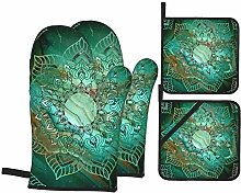 Oven Mitts and Pot Holders 4pcs Set,Beautiful