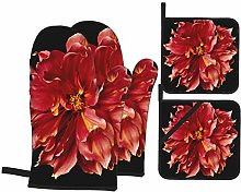 Oven Mitts and Pot holders 4pcs Set,Big Red Flower
