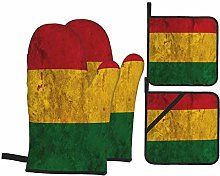 Oven Mitts and Pot Holders 4pcs Set,Bolivia Flag
