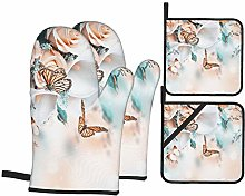 Oven Mitts and Pot holders 4pcs Set,Bouquet Bride