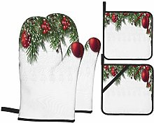 Oven Mitts and Pot Holders 4pcs Set,Christmas Card