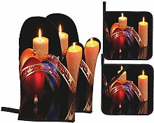Oven Mitts and Pot Holders 4pcs Set,Christmas