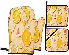 Oven Mitts and Pot holders 4pcs Set,Citrus Fruit