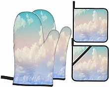 Oven Mitts and Pot Holders 4pcs Set,Cloud And Sky