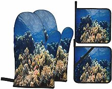 Oven Mitts and Pot holders 4pcs Set,Coral Barrier