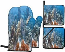 Oven Mitts and Pot holders 4pcs Set,Coral Reef