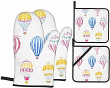 Oven Mitts and Pot Holders 4pcs Set,Cute Balloon