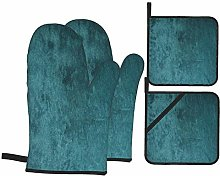 Oven Mitts and Pot Holders 4pcs Set,Dark Green