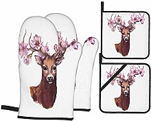 Oven Mitts and Pot Holders 4pcs Set,Deer Animal