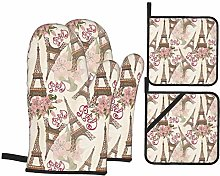Oven Mitts and Pot Holders 4pcs Set,Eiffel Tower