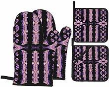 Oven Mitts and Pot Holders 4pcs Set,Embroidery