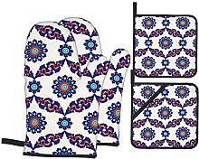 Oven Mitts and Pot Holders 4pcs Set,Floral Pattern