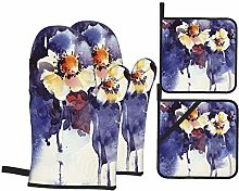 Oven Mitts and Pot Holders 4pcs Set,Floral