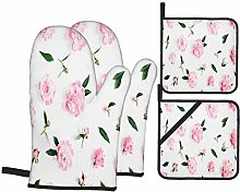 Oven Mitts and Pot Holders 4pcs Set,Flower Pattern