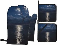 Oven Mitts and Pot Holders 4pcs Set,Full Moon