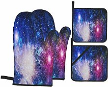 Oven Mitts and Pot Holders 4pcs Set,Galaxy