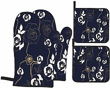 Oven Mitts and Pot Holders 4pcs Set,Gold Rose Ivy