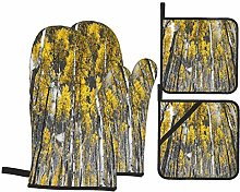 Oven Mitts and Pot holders 4pcs Set,Golden Yellow