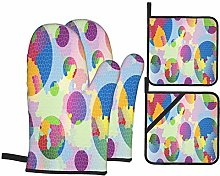 Oven Mitts and Pot Holders 4pcs Set,Graphic