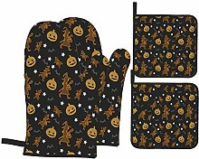 Oven Mitts and Pot Holders 4pcs Set,Halloween Lace
