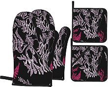 Oven Mitts and Pot Holders 4pcs Set,Hand Drawing